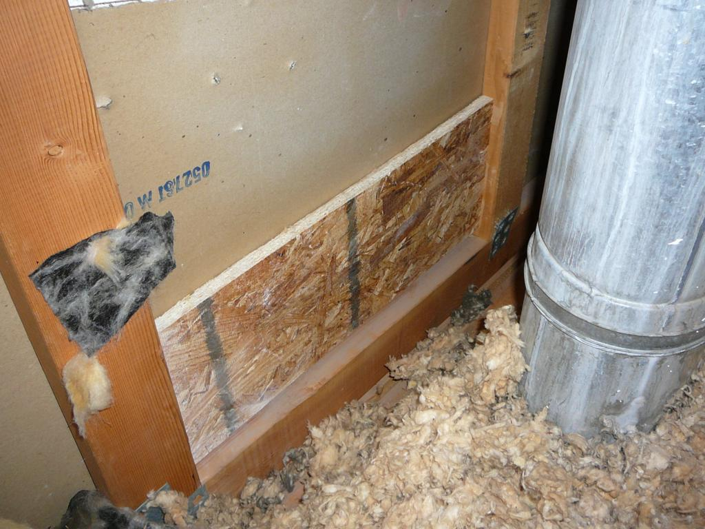 This backing was added from the attic side to give more stability and strength to the repair.